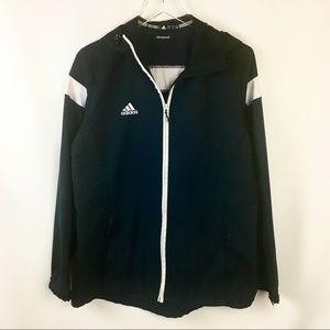 Adidas | Black & White Hooded Windbreaker Large